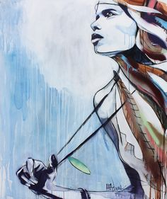 "Painting of a girl exploring the elements. Inspiration taken from a quote by Percy Bysshe Shelley on Mont Blanc ""Mont Blanc yet gleams on high: the power is there, The still and solemn power of many sights And many sounds, and much of life and death. In the long glare of day, the snows descend Upon that Mountain"