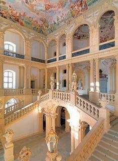 BAROQUE ; Germany- Staircase of Schloss Weissenstein at Pommersfelden, Bavaria, Begun 1711-1718 by Johann Dientzenhofer