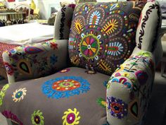 Embroidered armchair