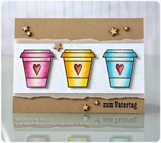 "Karte zum Vatertag | Father's Day card - Create A Smile Stamps ""Coffee First"", Hero Arts ""Flower Dot Pattern"", Stempelküche ""365"", PanPastel, Faber-Castell Polychromos"