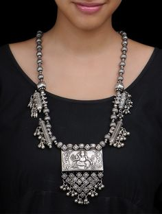 Silver Lord Ganesha Necklace by Amrapali Jewelry Online at Jaypore.com