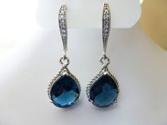 Blue Sapphire Earrings Wedding Teardrop Glass - Bridal Earrings Blue Saphire - Zirconia Ear wires. $26.00, via Etsy.