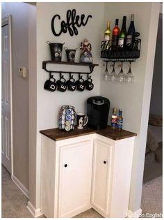 Diy Kitchen, Kitchen Decor, Kitchen Ideas, Kitchen Pantry, Kitchen Cabinets, Make Your Own Coffee, Coffee Bar Home, Coffee Corner, Coffee Shop