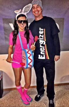 20 Best DIY Couples Halloween Costumes That Can Be Worn in Front of Kids - Gathered In The Kitchen Couples Halloween Costumes: Energizer Bunny. Celebrity Couple Costumes, Cute Couples Costumes, Cute Couple Halloween Costumes, Hallowen Costume, Halloween Kostüm, Halloween Outfits, Costumes For Women, Funny Couple Costumes, Couples Halloween Costumes Creative
