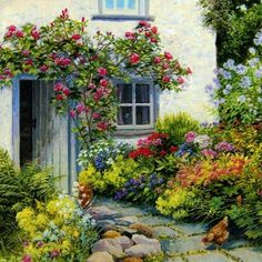 Beautiful any-occasion greetings card illustrated with a painting of a traditional cottage garden by Stephen Darbishire - Watercolor Flowers, Watercolor Paintings, Creation Photo, Cottage Art, Cottage Door, Illustration Art, Illustrations, Beautiful Paintings, Mail Art