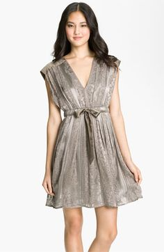 Jessica Simpson V-Neck Burnout Satin Dress. This could be a cute winter Bridesmaid dress along with black or ivory tights.