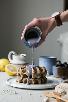 Lemon Poppy Seed Waffles + Blueberry Cashew Cream (Vegan + Gluten-Free) by The Green Life