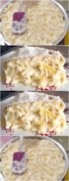 Um dos recheios mais gostosos e tradicionais. Pineapple cream for cake filling. One of the most delicious and traditional fillings. Sweet Recipes, Cake Recipes, Snack Recipes, My Favorite Food, Favorite Recipes, Sweet Cakes, I Foods, Delicious Desserts, Cupcake Cakes