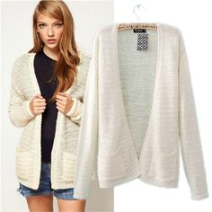 2013 fashion new style sweater outerwear female autumn and winter cardigan women's fashion sweater top pocket white US $22.99