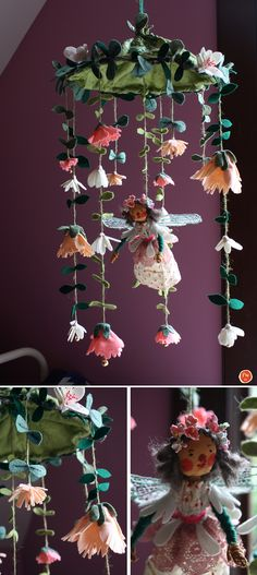 Flower Fairy mobile    Wool felt, wire, recycled fabric & mixed media           2013Phoebe Wahl