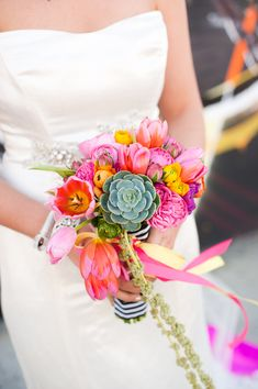 The Not Wedding | Los Angeles 2013 - neon wedding bouquet