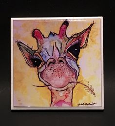 """Alcohol Ink Art Print, Watercolor Print of Giraffe, Zoo Animal Whimsical Print on 4""""x 4"""" Ceramic Tile, By YakiArtist by YakiArtist on Etsy"""