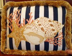 Shell and Starfish on Stripes - needlepoint
