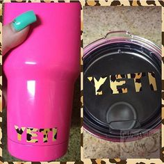 Cheetah Yeti Lid Decal Yeti Logo for Rambler and Tumbler - Any Color - Glitter - 30oz - 20oz - Patte