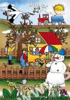 Březen, tématický obraz Month Weather, Weather For Kids, Weather Seasons, Seasons Of The Year, Four Seasons, Diy And Crafts, Crafts For Kids, Autism Signs, Picture Composition