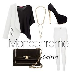 """""""Monochrome"""" by thacailyn on Polyvore featuring Boohoo, Givenchy, Giuseppe Zanotti, Quiz and Salvatore Ferragamo"""