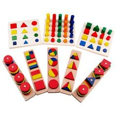 Wooden Toys Preschool Educational Geometric Blocks Toy  Montessori Teaching Aid Set Intelligence Development