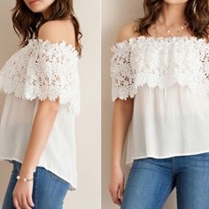 Crochet floral top Off shoulder top. Floral lace deco. US s (Asian m) Rayon-two Tops Tees - Short Sleeve