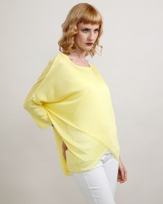 Cross Knit Top Yellow