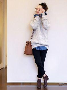 GLOBAL WORKのニット・セーター「3ゲージネップアゼニットプルオーバー/726039」を使った陽のコーディネートです。WEARはモデル・俳優・ショップスタッフなどの着こなしをチェックできるファッションコーディネートサイトです。