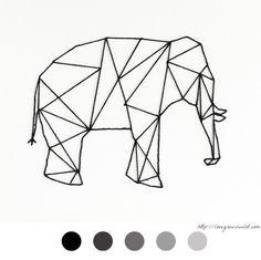 Elephant - éléphant - DIY Déco - Tableau Clou Fil - Décoration - Decoration - Stud - Thread - Tutoriel - Tuto -