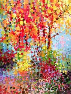 Angelo Franco Pointillist Autumn. Colourful dots.