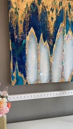 Epoxy Resin Art, Diy Resin Art, Diy Resin Crafts, Diy Art, Glue Art, Gold Leaf Art, Acrylic Pouring Art, Resin Artwork, Pour Painting