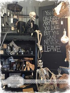 **My Desert Cottage**: Sweet Salvage- Rustic Remains ideas halloween party, womens halloween, christmas halloween Halloween Window Display, Halloween Displays, Theme Halloween, Halloween Crafts For Kids, Halloween Home Decor, Holidays Halloween, Spooky Halloween, Halloween Cookies, Halloween Stuff