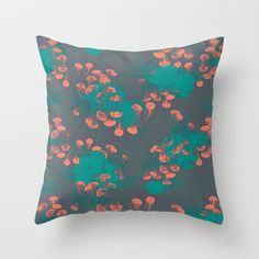 Medusa / Crazy Jellyfish blue atoll Throw Pillow by voodoo - $20.00