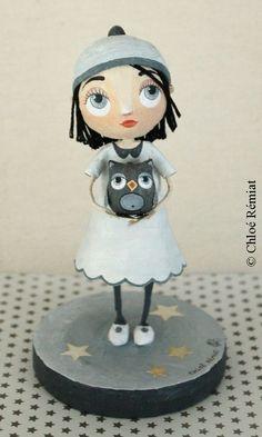 Chloé Remiat papier mache figurine girl with owl