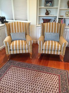 Quality wing chairs reupholstered in Warwick fabric Wingback Chair, Armchair, Warwick Fabrics, Melbourne, Accent Chairs, Upholstery, Wing Chairs, Furniture, Home Decor