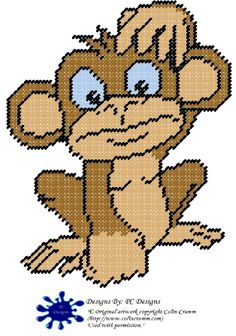 Cute Monkey Plastic Canvas Pattern by PCDesignz