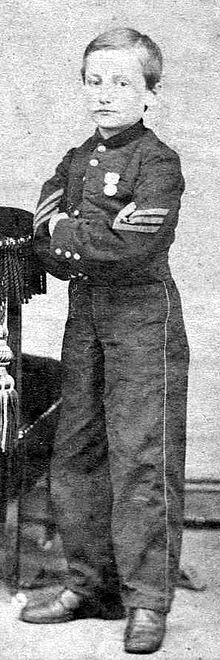 John Clem - as a 12 year old Sgt in 1863 ! He was a hero known as Johnny Shiloh or the Drummer Boy of Chickamauga...