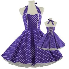 50's vintage dress sweet heart design purple white polka dots Tailor Made after your measurements