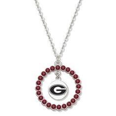 Georgia Bulldogs Spirit Crystal Logo Wreath Necklace, Price:$30.77
