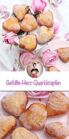 Gefüllte Quarkkrapfen in Herzform Curd cheese donuts filled in heart shape recipe. Sugar-sweet, small, heart-shaped curd donuts that don't just taste great on Valentine's Day, Mother Donut Recipes, Dessert Recipes, Donut Filling, Simple Muffin Recipe, Valentines Day Dinner, Cinnamon Bread, Healthy Muffins, Fritters, Plated Desserts
