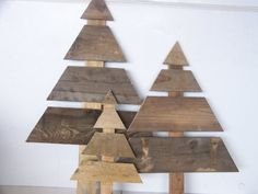 Set of 3 Large wooden christmas trees by TiffanysCustomCreate