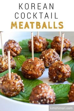 These meatballs are fried and not oven baked or slow cooked. It is light and almost fluffy(?) in the inside with bits of kimchi bursting with flavor and then has a bit of a chewy and crusty outside. And then my sweet soy glaze with sesame seeds will defin Korean Appetizers, Bacon Appetizers, Appetizers For Party, Appetizer Recipes, Snack Recipes, Party Recipes, Drink Recipes, Meatball Recipes, Meat Recipes