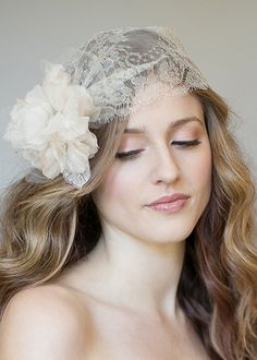 Chantilly lace and tulle wedding hair accessory from Laura Jayne. http://www.laurajayne.com/charlotte-metallic-lace-flower-p-53.html