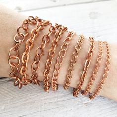 Copper Bracelet Chain, Solid Copper Chain Artisan Adjustable Bracelet Custom, Mens Womens Pure Copper, Anklet Penny Bracelet, Copper Bracelet, Copper Cuff, Pure Copper, Brass Chain, Adjustable Bracelet, Link Bracelets, Pure Products