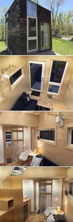 This modern tiny house is located in Gretna, Nebraska and available for nightly rental through Airbnb. Rates start at $66. Max 3 people.