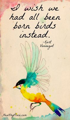 Positive quote: I wish we had all been born birds instead.   www.HealthyPlace.com