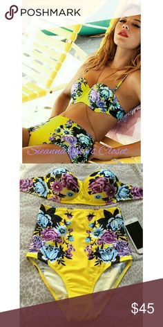 5LAST ONE!! Look absolutley Gorgeous in this floral print swimsuit.  It has great coverage! And such a pretty color.  Material is polyester/terylene.  Price is firm unless bundled.   ASIAN MEDIUM IS US(SMALL)  ASIAN LARGE IS US. ( MEDIUM) boutique Swim Bikinis