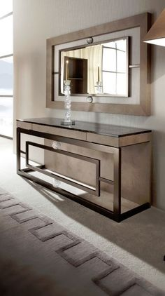 Contemporary console tables are essential to design pieces in any modern interior. This modern furniture is often found in entryways and hallway, the support fo Luxury Furniture, Home Furniture, Furniture Design, Contemporary Furniture, Furniture Ideas, Furniture Online, Furniture Companies, Entryway Mirror, Entryway Decor