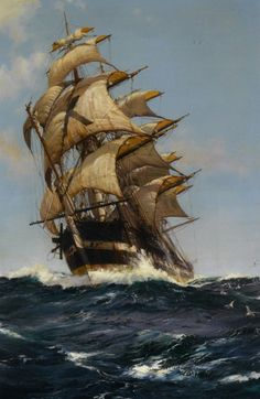"""Crest of a Wave"" - Montague Dawson (1895-1973)"