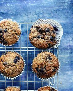 Moist Blueberry Bran Muffins - www.foodess.com
