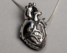 Weiße Bronze anatomisches Herz Medaillon