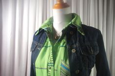 Vintage granny dress abstract lime green blue by AnEyeforJulz, $20.00