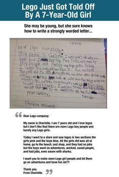Little girl writes letter to LEGO