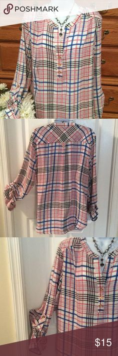 """Zac & Rachel Plaid Cute Blouse 100% polyester and only wore it once. Feels like a heavier chiffon/gauzy material.  Approximately 29"""" in length and when laid flat it is 23"""" across.  No stretch.  Excellent condition. Colors are off white, blue, black and orange.  Has real buttons.  Gold in color and sleeves can button up also as I tried to show.  Lightweight and fun. It's really not too sheer.  Really doesn't wrinkle. Zac & Rachel Tops Blouses"""